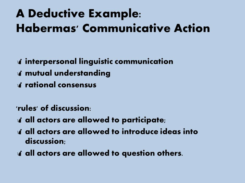 A Deductive Example: Habermas Communicative Action  interpersonal linguistic communication  mutual understanding  rational consensus rules of discussion:  all actors are allowed to participate;  all actors are allowed to introduce ideas into discussion;  all actors are allowed to question others.
