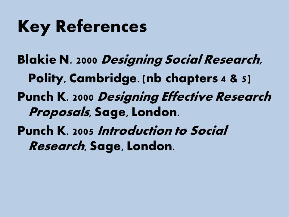Key References Blakie N. 2000 Designing Social Research, Polity, Cambridge.