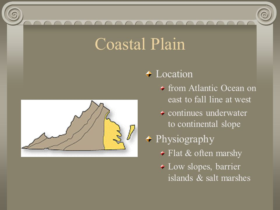 Coastal Plain Location from Atlantic Ocean on east to fall line at west continues underwater to continental slope Physiography Flat & often marshy Low slopes, barrier islands & salt marshes