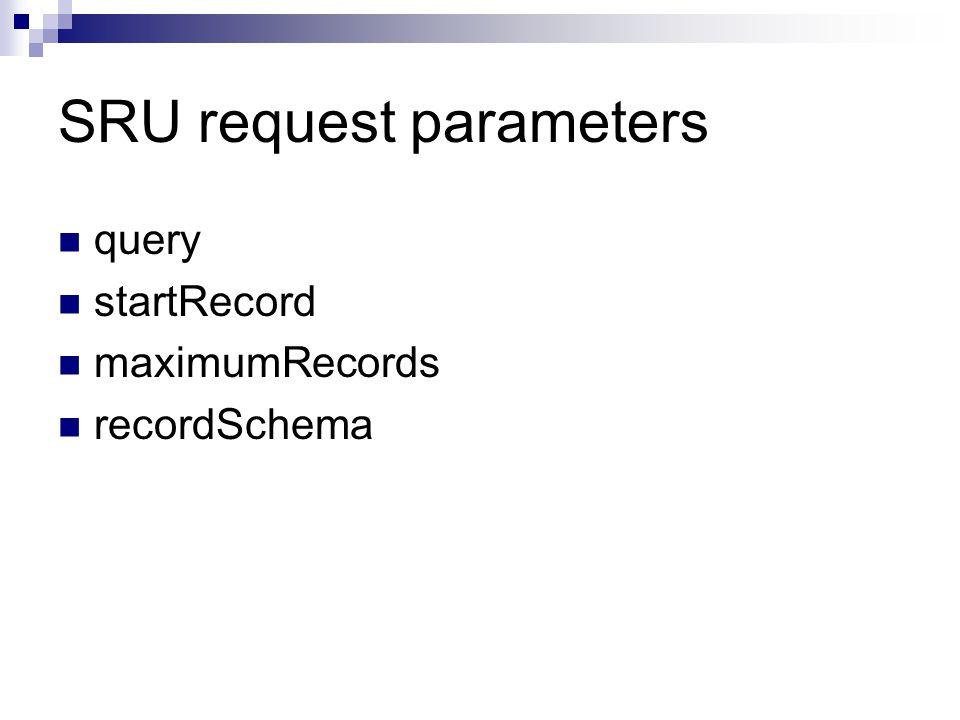 SRU request parameters query startRecord maximumRecords recordSchema