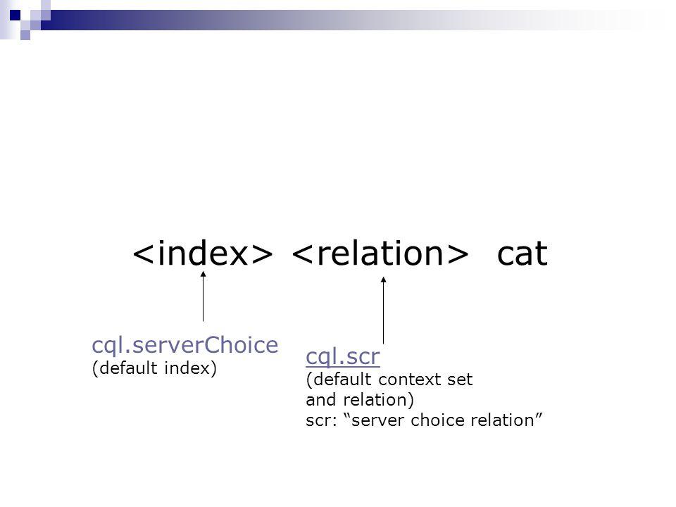 "cat cql.scr (default context set and relation) scr: ""server choice relation"" cql.serverChoice (default index)"