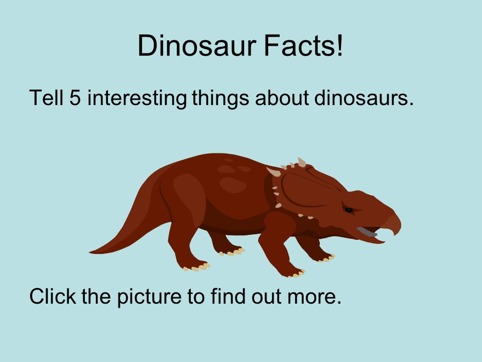 Dinosaur Facts! Tell 5 interesting things about dinosaurs. Click the picture to find out more.