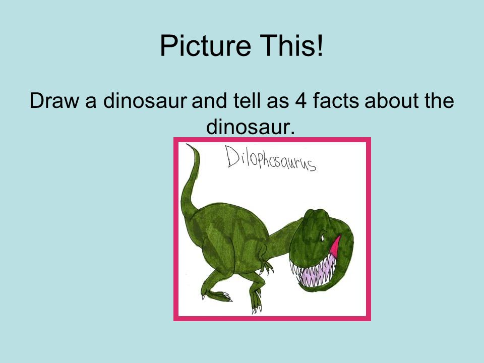 Picture This! Draw a dinosaur and tell as 4 facts about the dinosaur.