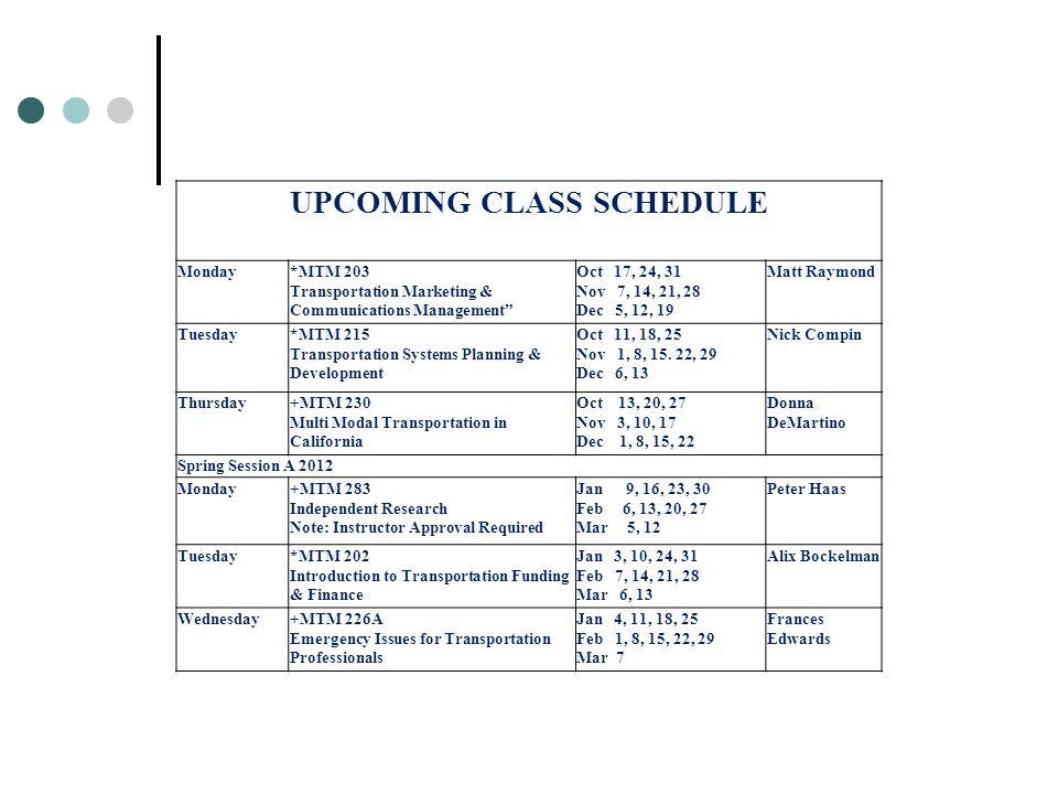 "UPCOMING CLASS SCHEDULE Monday*MTM 203 Transportation Marketing & Communications Management"" Oct 17, 24, 31 Nov 7, 14, 21, 28 Dec 5, 12, 19 Matt Raymo"