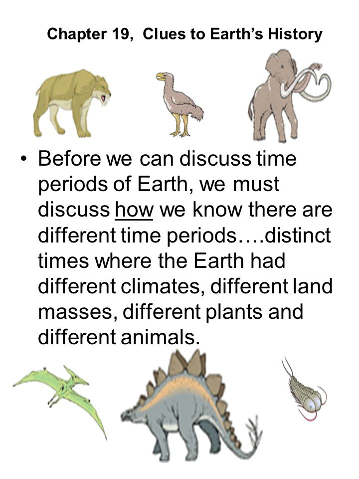 Before we can discuss time periods of Earth, we must discuss how we know there are different time periods….distinct times where the Earth had different climates, different land masses, different plants and different animals.