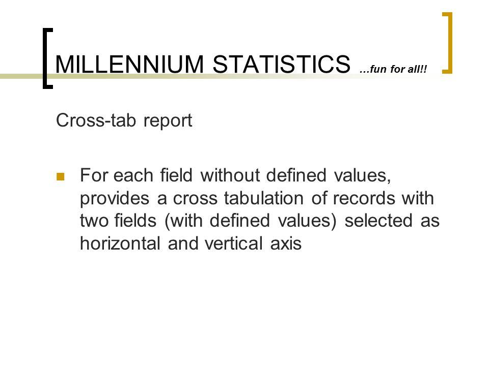 MILLENNIUM STATISTICS …fun for all!!