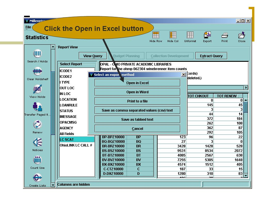 MILLENNIUM STATISTICS …fun for all!! Click the Export button
