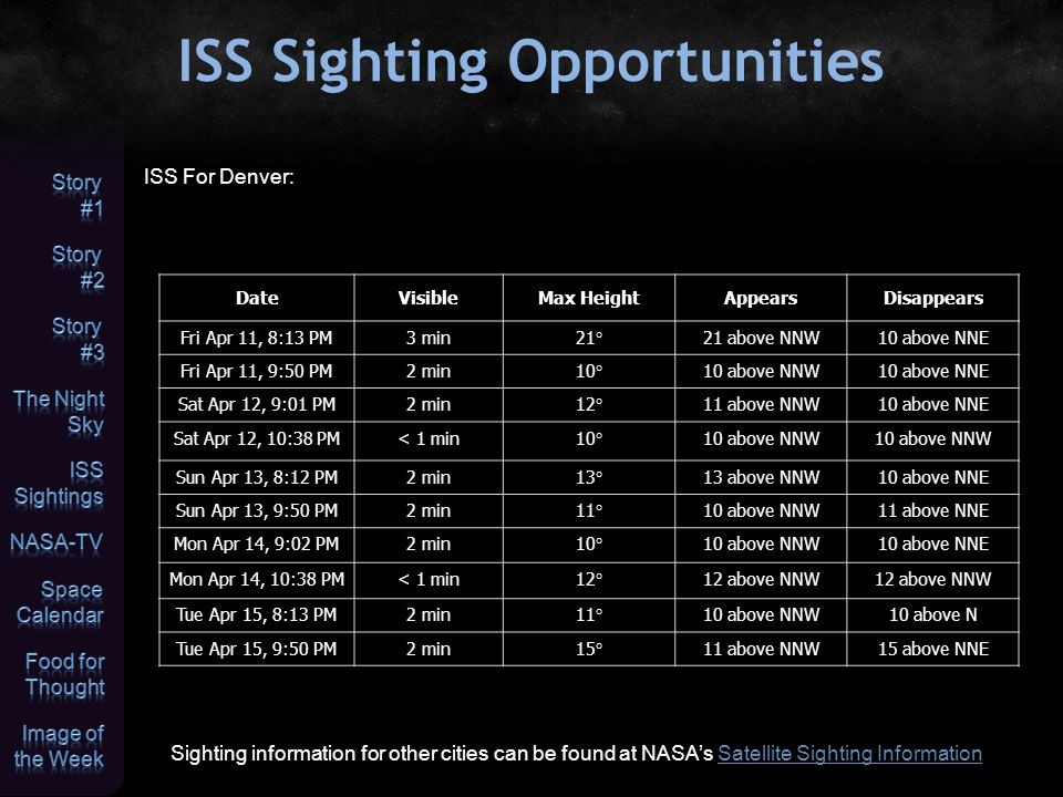 ISS Sighting Opportunities Sighting information for other cities can be found at NASA's Satellite Sighting InformationSatellite Sighting Information I