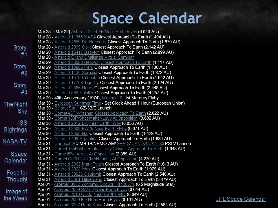 Space Calendar JPL Space Calendar Mar 28 - [Mar 22] Asteroid 2014 FF Near-Earth Flyby (0.040 AU)Asteroid 2014 FFNear-Earth Flyby Mar 28 - Asteroid 113
