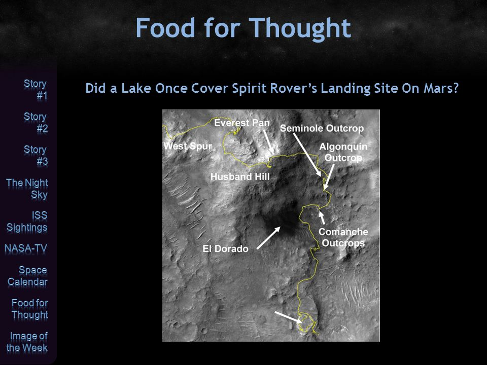 Food for Thought Did a Lake Once Cover Spirit Rover's Landing Site On Mars?