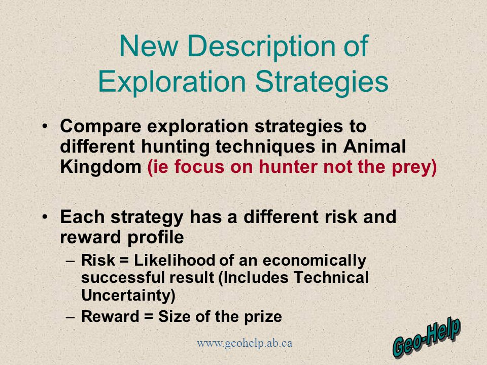 www.geohelp.ab.ca New Description of Exploration Strategies Compare exploration strategies to different hunting techniques in Animal Kingdom (ie focus on hunter not the prey) Each strategy has a different risk and reward profile –Risk = Likelihood of an economically successful result (Includes Technical Uncertainty) –Reward = Size of the prize