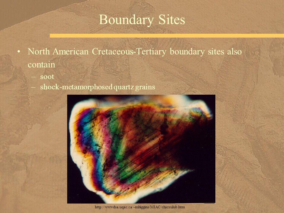 North American Cretaceous-Tertiary boundary sites also contain –soot –shock-metamorphosed quartz grains Boundary Sites http://wwwdsa.uqac.ca/~mhiggins
