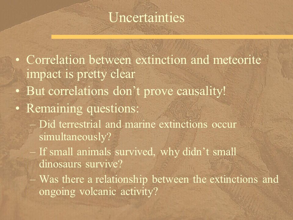 Uncertainties Correlation between extinction and meteorite impact is pretty clear But correlations don't prove causality.