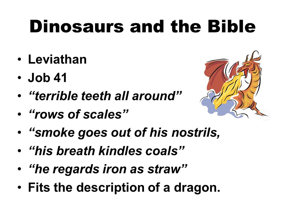 """Dinosaurs and the Bible Leviathan Job 41 """"terrible teeth all around"""" """"rows of scales"""" """"smoke goes out of his nostrils, """"his breath kindles coals"""" """"he"""