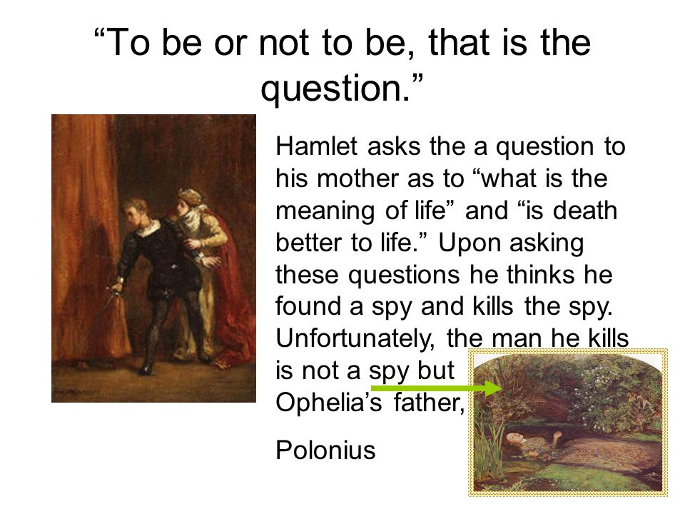 To be or not to be, that is the question. Hamlet asks the a question to his mother as to what is the meaning of life and is death better to life. Upon asking these questions he thinks he found a spy and kills the spy.
