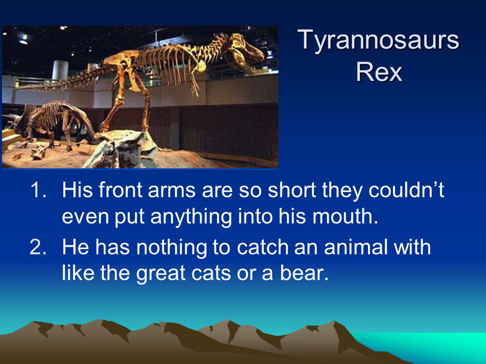 Tyrannosaurs Rex 1.His front arms are so short they couldn't even put anything into his mouth.