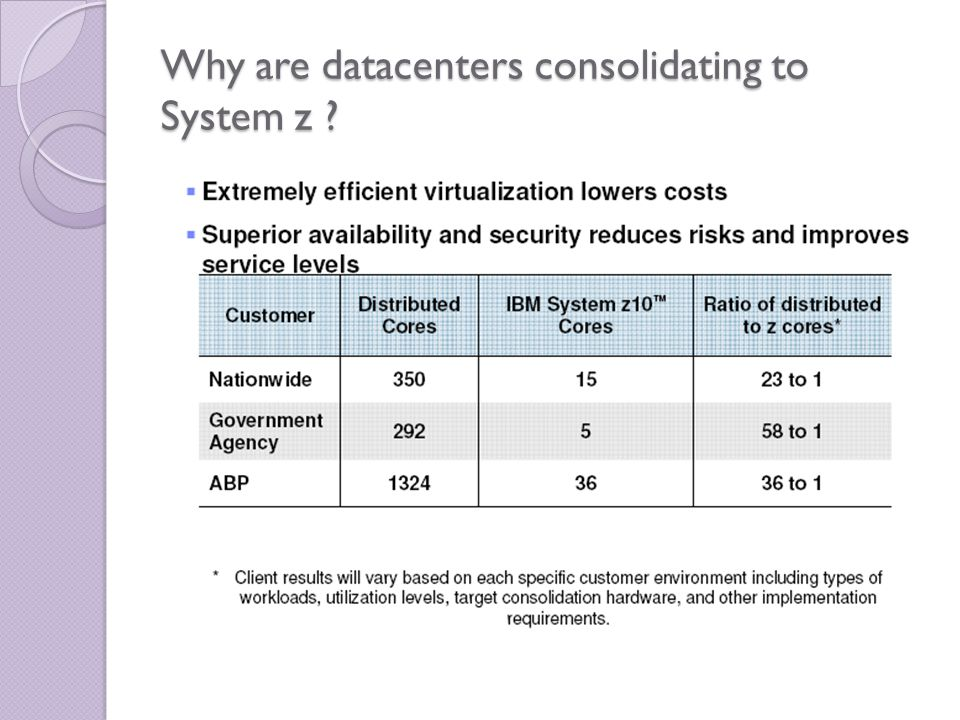 Why are datacenters consolidating to System z ?