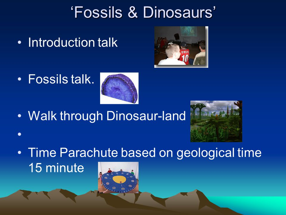 'Fossils & Dinosaurs' Introduction talk (slides including 3D) --10 minutes Fossils talk --10 minutes including range of fossils and dinosaur models.