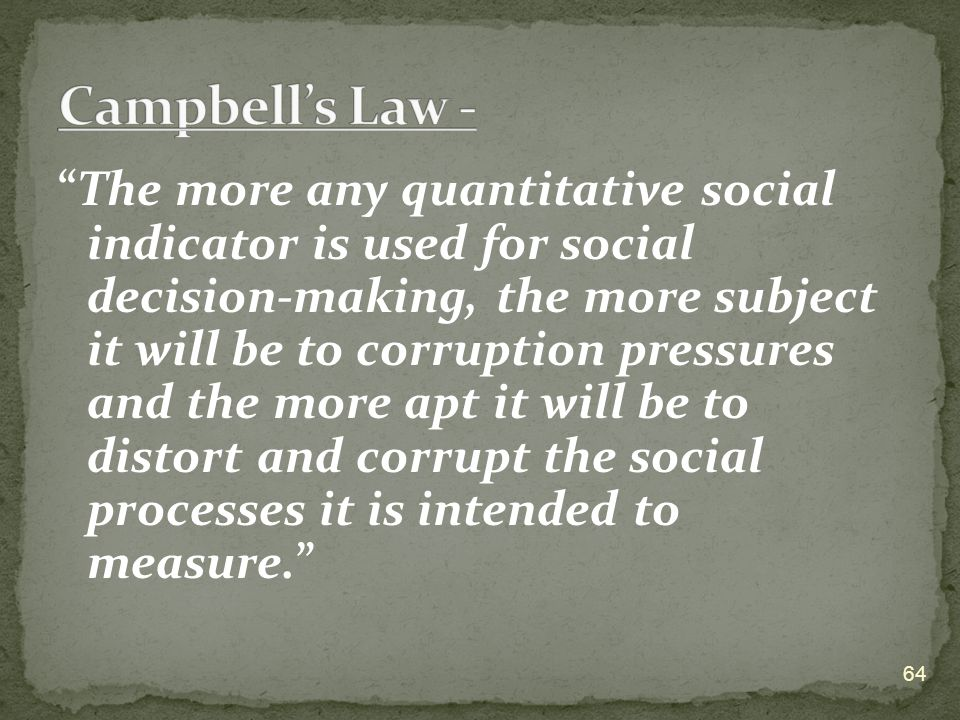 """The more any quantitative social indicator is used for social decision-making, the more subject it will be to corruption pressures and the more apt i"