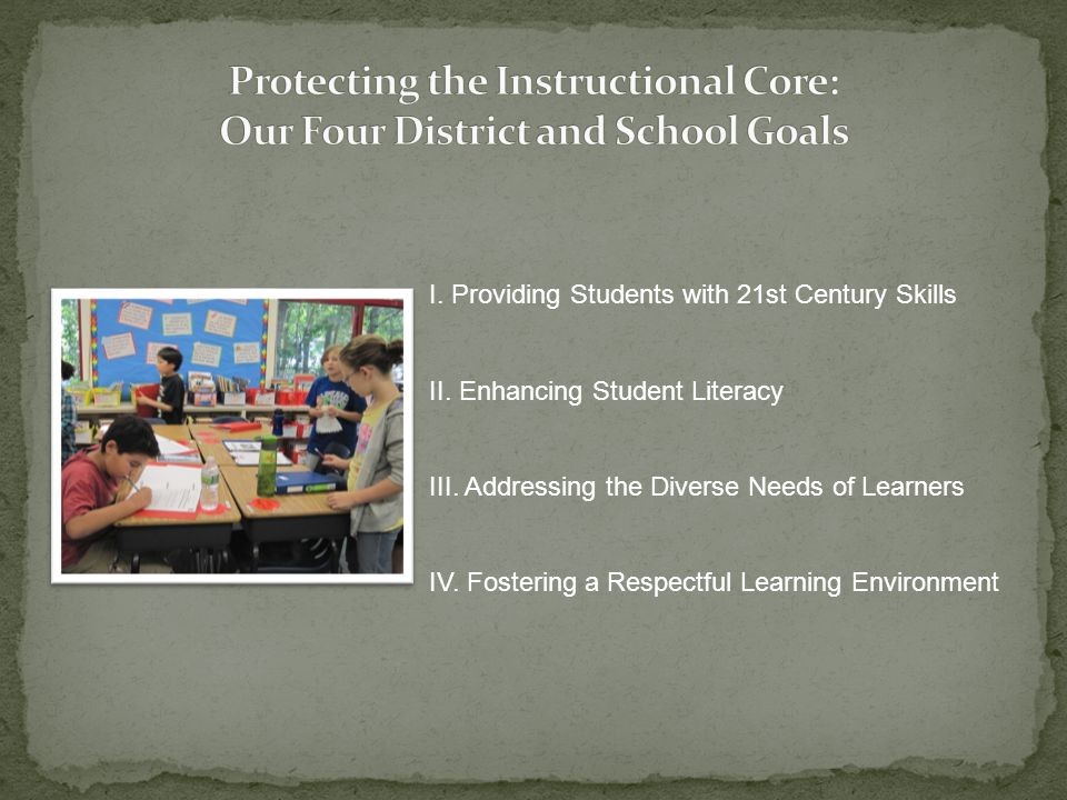 I. Providing Students with 21st Century Skills II. Enhancing Student Literacy III. Addressing the Diverse Needs of Learners IV. Fostering a Respectful