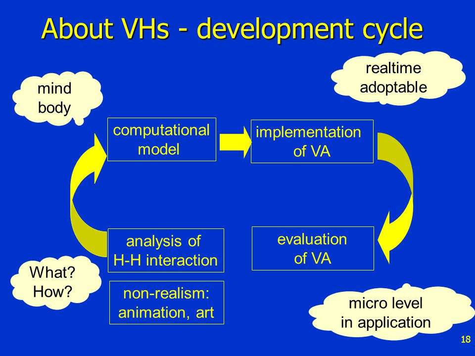 18 About VHs - development cycle analysis of H-H interaction computational model implementation of VA evaluation of VA non-realism: animation, art What.