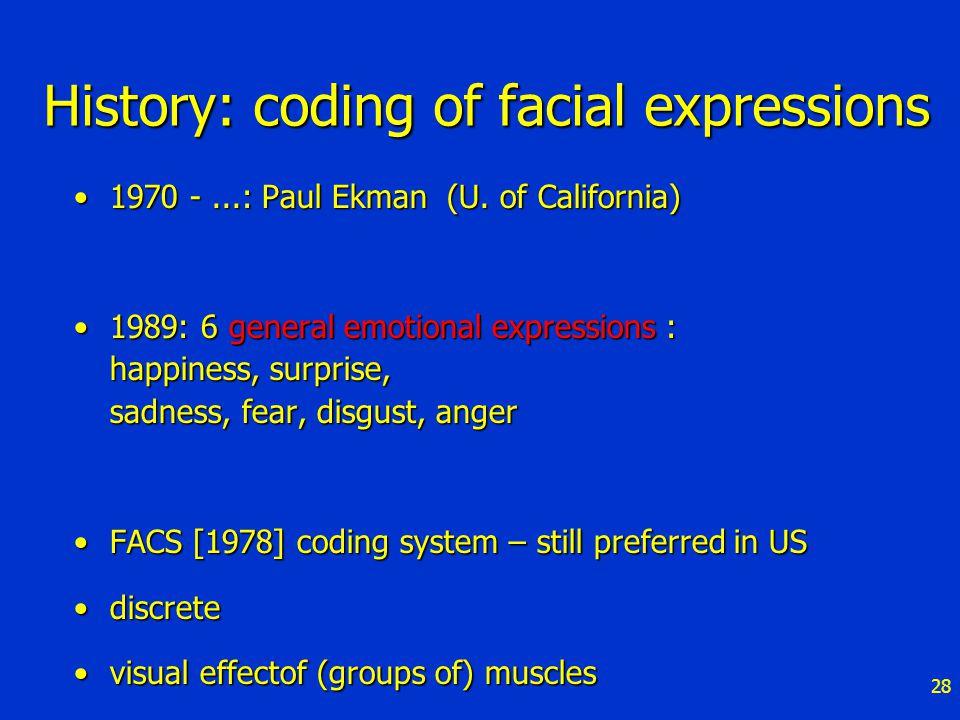 28 History: coding of facial expressions 1970 -...: Paul Ekman (U.