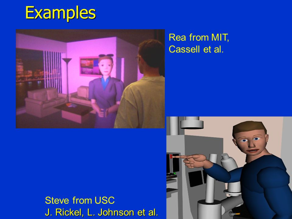 4Examples Rea from MIT, Cassell et al. Steve from USC J. Rickel, L. Johnson et al.