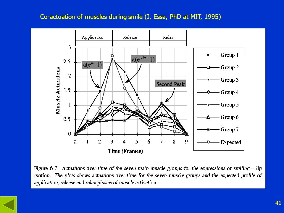 41 Co-actuation of muscles during smile (I. Essa, PhD at MIT, 1995)