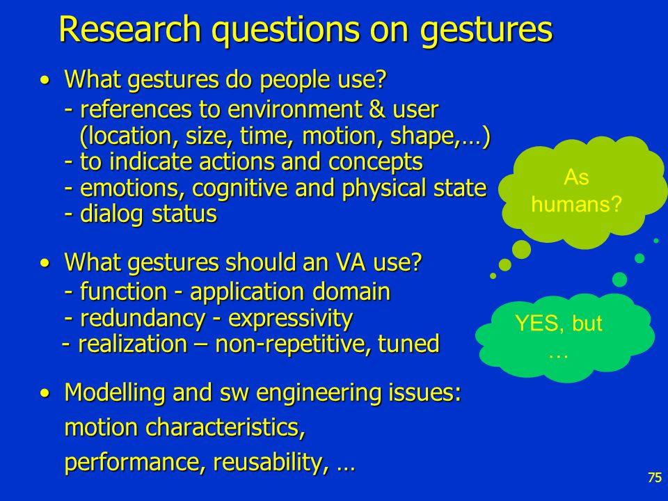 75 Research questions on gestures What gestures do people use?What gestures do people use.