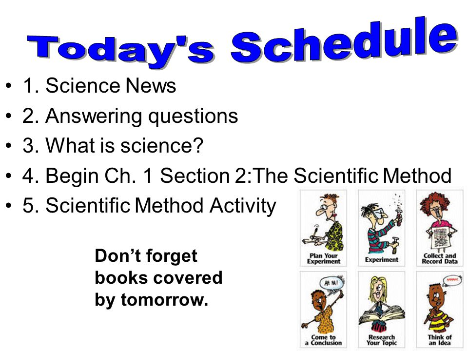 1. Science News 2. Answering questions 3. What is science? 4. Begin Ch. 1 Section 2:The Scientific Method 5. Scientific Method Activity Don't forget b