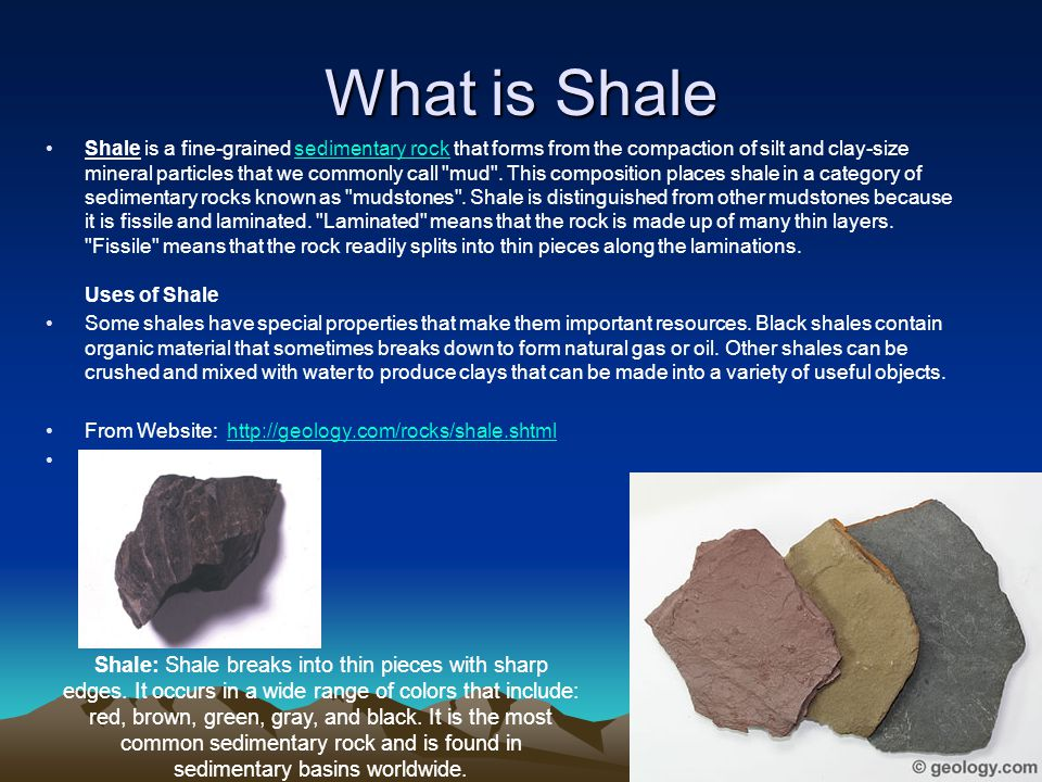 What is Shale Shale is a fine-grained sedimentary rock that forms from the compaction of silt and clay-size mineral particles that we commonly call mud .