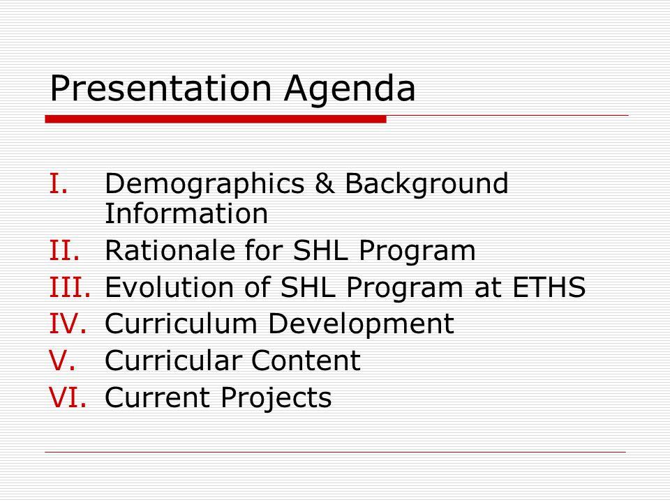 Presentation Agenda I.Demographics & Background Information II.Rationale for SHL Program III.Evolution of SHL Program at ETHS IV.Curriculum Developmen