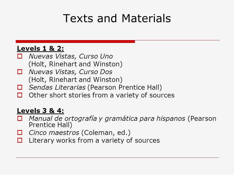 Texts and Materials Levels 1 & 2:  Nuevas Vistas, Curso Uno (Holt, Rinehart and Winston)  Nuevas Vistas, Curso Dos (Holt, Rinehart and Winston)  Se
