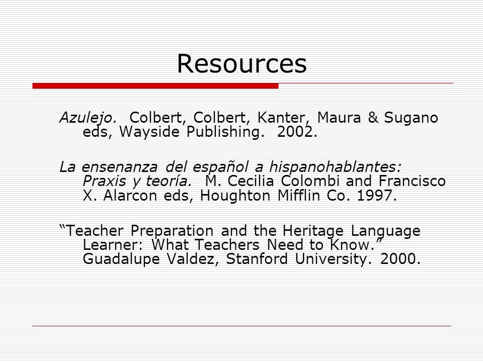 Resources Azulejo. Colbert, Colbert, Kanter, Maura & Sugano eds, Wayside Publishing. 2002. La ensenanza del español a hispanohablantes: Praxis y teorí
