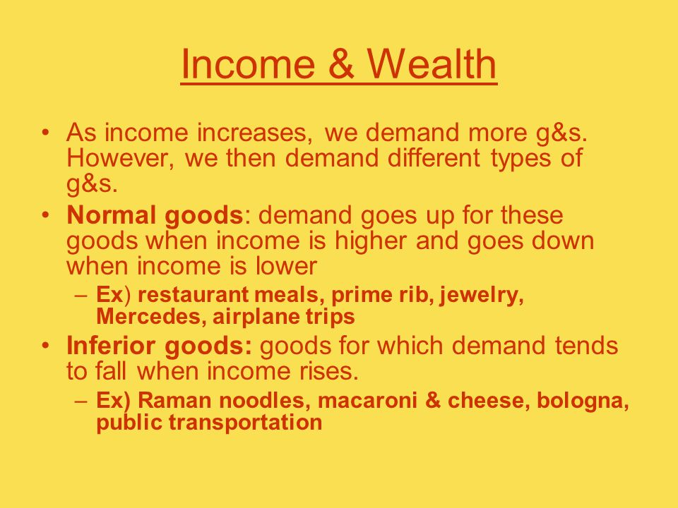 Income & Wealth As income increases, we demand more g&s.
