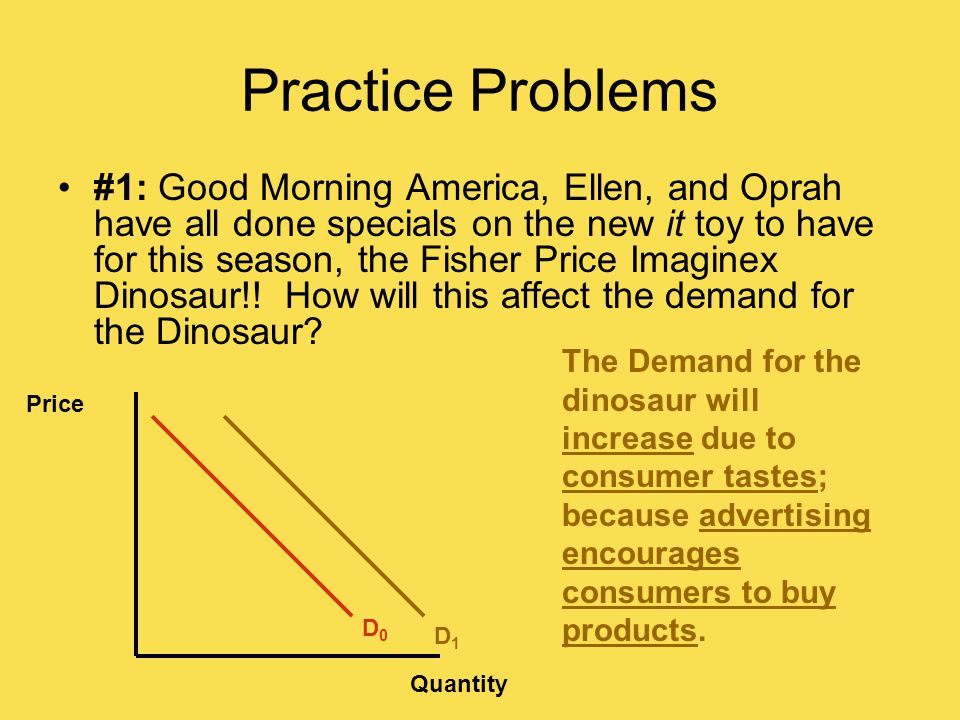 Practice Problems #1: Good Morning America, Ellen, and Oprah have all done specials on the new it toy to have for this season, the Fisher Price Imaginex Dinosaur!.