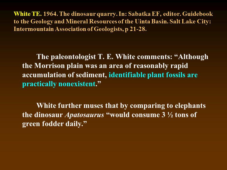 White TE. 1964. The dinosaur quarry. In: Sabatka EF, editor.