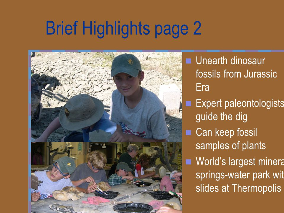 Brief Highlights page 2 Unearth dinosaur fossils from Jurassic Era Expert paleontologists guide the dig Can keep fossil samples of plants World's larg