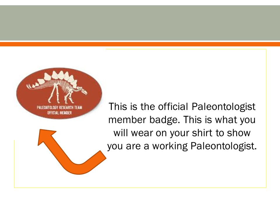 This is the official Paleontologist member badge. This is what you will wear on your shirt to show you are a working Paleontologist.