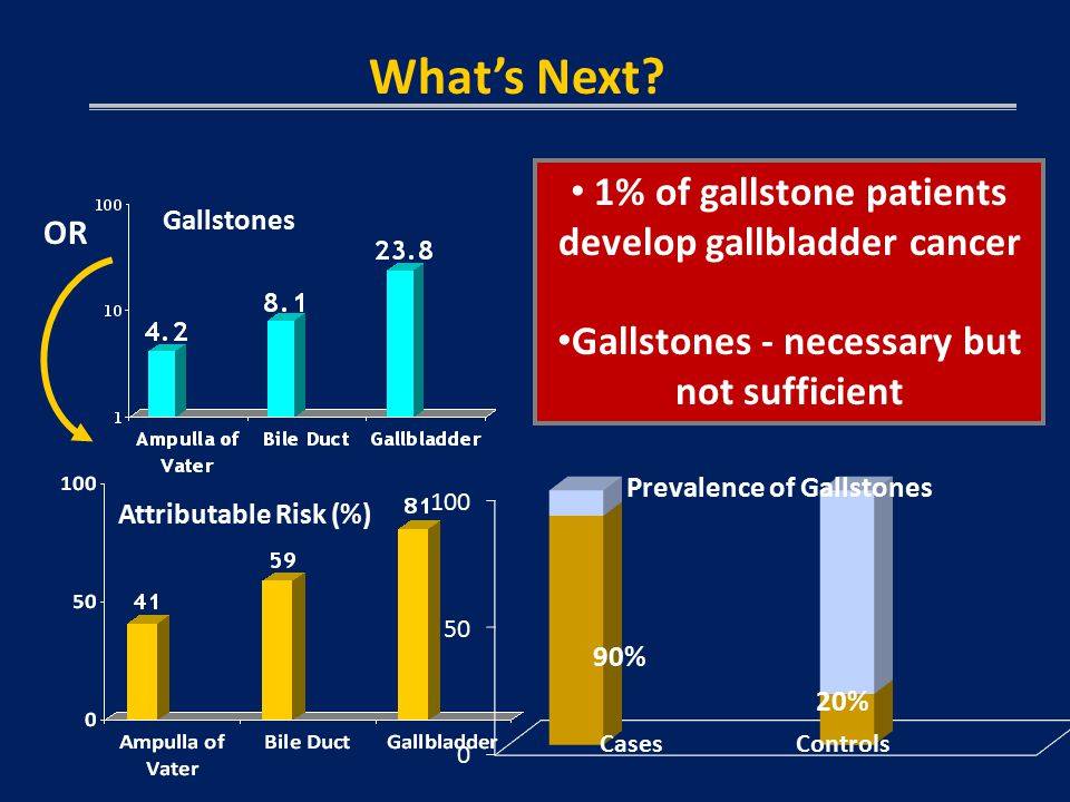 OR Gallstones Attributable Risk (%) 1% of gallstone patients develop gallbladder cancer Gallstones - necessary but not sufficient What's Next.