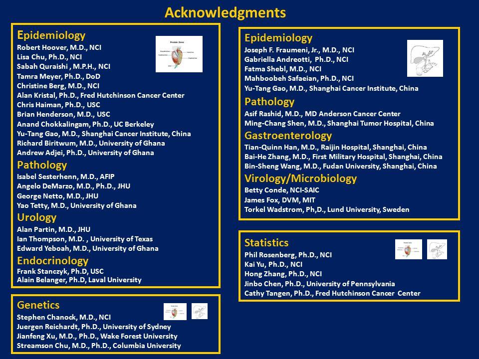 Acknowledgments E pidemiology Robert Hoover, M.D., NCI Lisa Chu, Ph.D., NCI Sabah Quraishi, M.P.H., NCI Tamra Meyer, Ph.D., DoD Christine Berg, M.D., NCI Alan Kristal, Ph.D., Fred Hutchinson Cancer Center Chris Haiman, Ph.D., USC Brian Henderson, M.D., USC Anand Chokkalingam, Ph.D., UC Berkeley Yu-Tang Gao, M.D., Shanghai Cancer Institute, China Richard Biritwum, M.D., University of Ghana Andrew Adjei, Ph.D., University of Ghana Pathology Isabel Sesterhenn, M.D., AFIP Angelo DeMarzo, M.D., Ph.D., JHU George Netto, M.D., JHU Yao Tetty, M.D., University of Ghana Urology Alan Partin, M.D., JHU Ian Thompson, M.D., University of Texas Edward Yeboah, M.D., University of Ghana Endocrinology Frank Stanczyk, Ph.D, USC Alain Belanger, Ph.D, Laval University Epidemiology Joseph F.