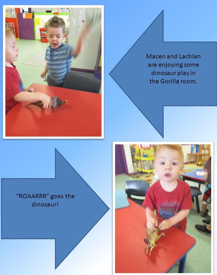 ROAARRR goes the dinosaur! Macen and Lachlan are enjoying some dinosaur play in the Gorilla room.