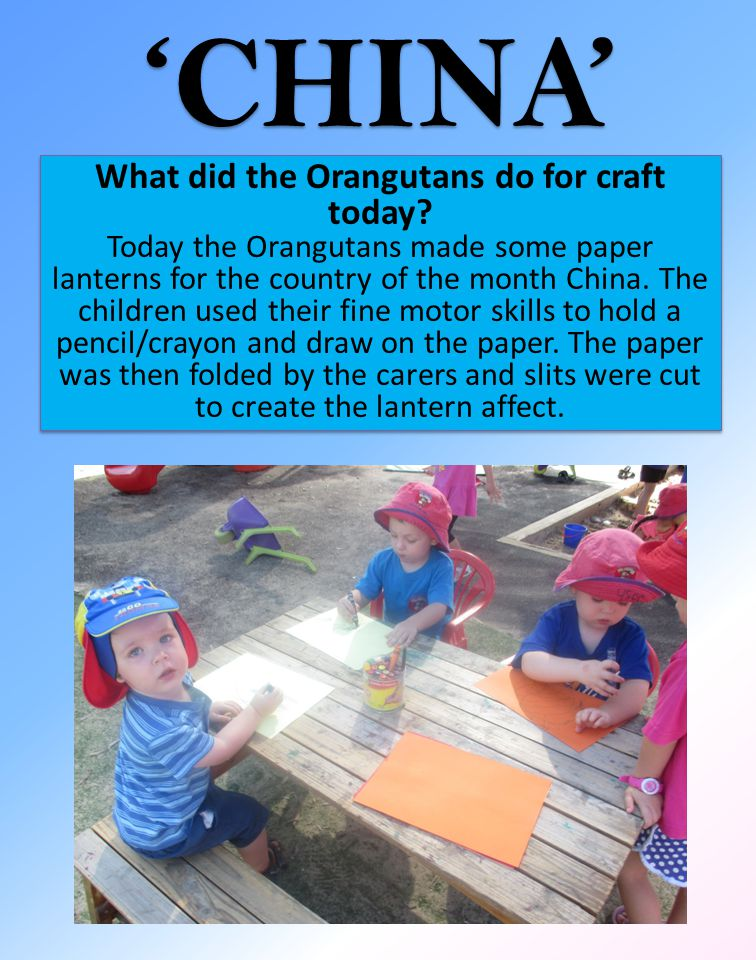 What did the Orangutans do for craft today.