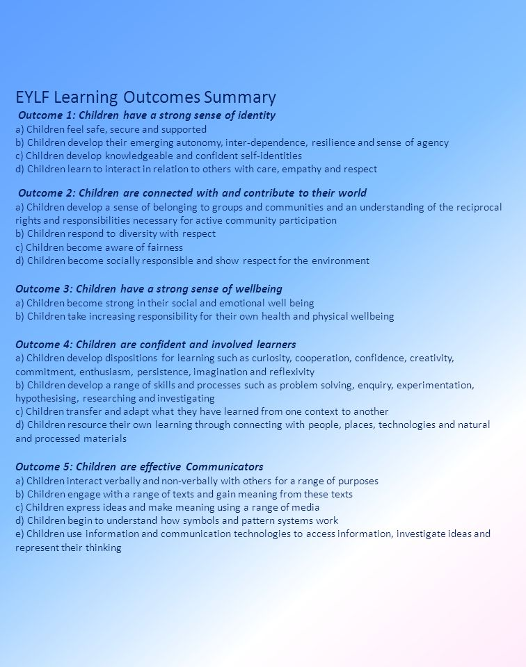 EYLF Learning Outcomes Summary Outcome 1: Children have a strong sense of identity a) Children feel safe, secure and supported b) Children develop their emerging autonomy, inter-dependence, resilience and sense of agency c) Children develop knowledgeable and confident self-identities d) Children learn to interact in relation to others with care, empathy and respect Outcome 2: Children are connected with and contribute to their world a) Children develop a sense of belonging to groups and communities and an understanding of the reciprocal rights and responsibilities necessary for active community participation b) Children respond to diversity with respect c) Children become aware of fairness d) Children become socially responsible and show respect for the environment Outcome 3: Children have a strong sense of wellbeing a) Children become strong in their social and emotional well being b) Children take increasing responsibility for their own health and physical wellbeing Outcome 4: Children are confident and involved learners a) Children develop dispositions for learning such as curiosity, cooperation, confidence, creativity, commitment, enthusiasm, persistence, imagination and reflexivity b) Children develop a range of skills and processes such as problem solving, enquiry, experimentation, hypothesising, researching and investigating c) Children transfer and adapt what they have learned from one context to another d) Children resource their own learning through connecting with people, places, technologies and natural and processed materials Outcome 5: Children are effective Communicators a) Children interact verbally and non-verbally with others for a range of purposes b) Children engage with a range of texts and gain meaning from these texts c) Children express ideas and make meaning using a range of media d) Children begin to understand how symbols and pattern systems work e) Children use information and communication technologies to access information, investigate 