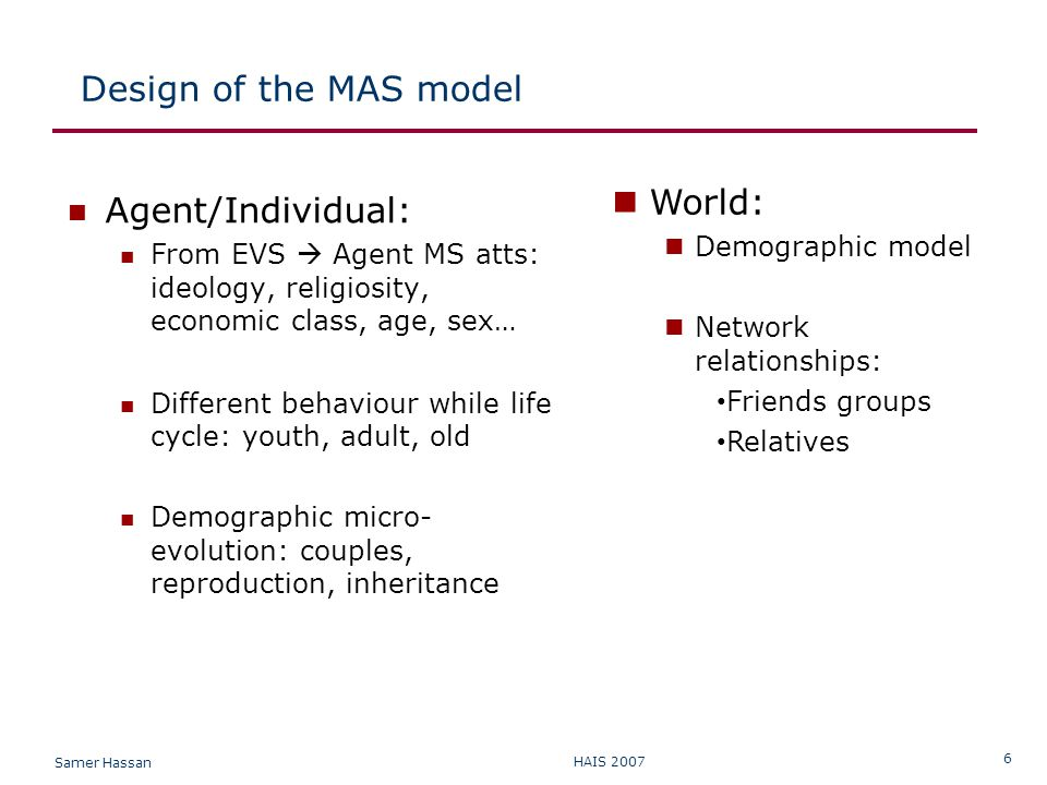 Samer Hassan HAIS 2007 6 Design of the MAS model Agent/Individual: From EVS  Agent MS atts: ideology, religiosity, economic class, age, sex… Different behaviour while life cycle: youth, adult, old Demographic micro- evolution: couples, reproduction, inheritance World: Demographic model Network relationships: Friends groups Relatives