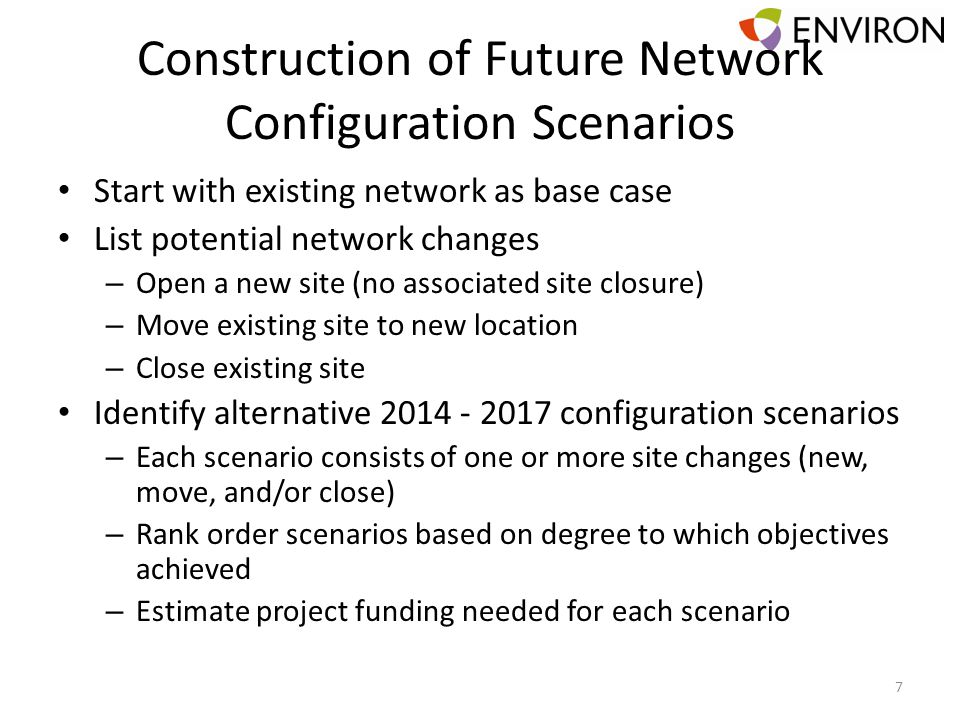 Construction of Future Network Configuration Scenarios Start with existing network as base case List potential network changes – Open a new site (no a
