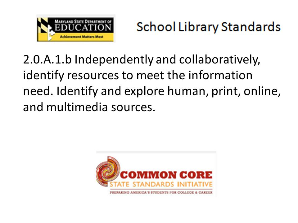 10 2.0.A.1.b Independently and collaboratively, identify resources to meet the information need. Identify and explore human, print, online, and multim