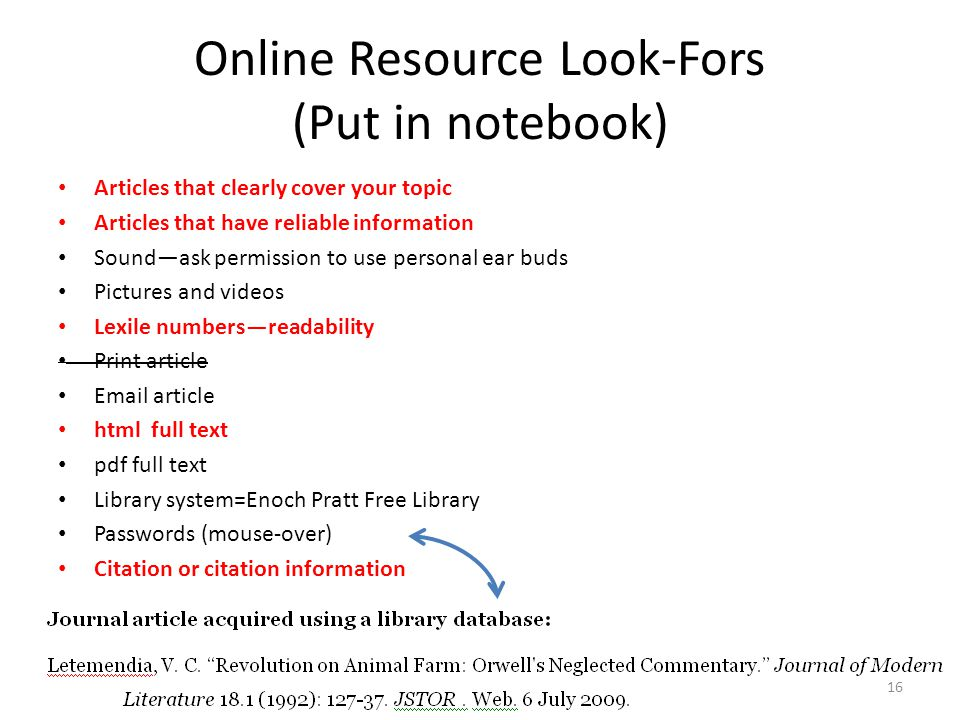 Online Resource Look-Fors (Put in notebook) Articles that clearly cover your topic Articles that have reliable information Sound—ask permission to use