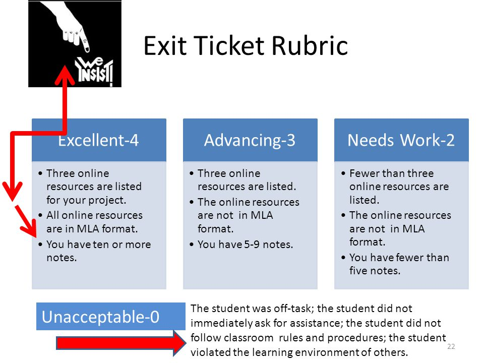Exit Ticket Rubric Excellent-4 Three online resources are listed for your project. All online resources are in MLA format. You have ten or more notes.