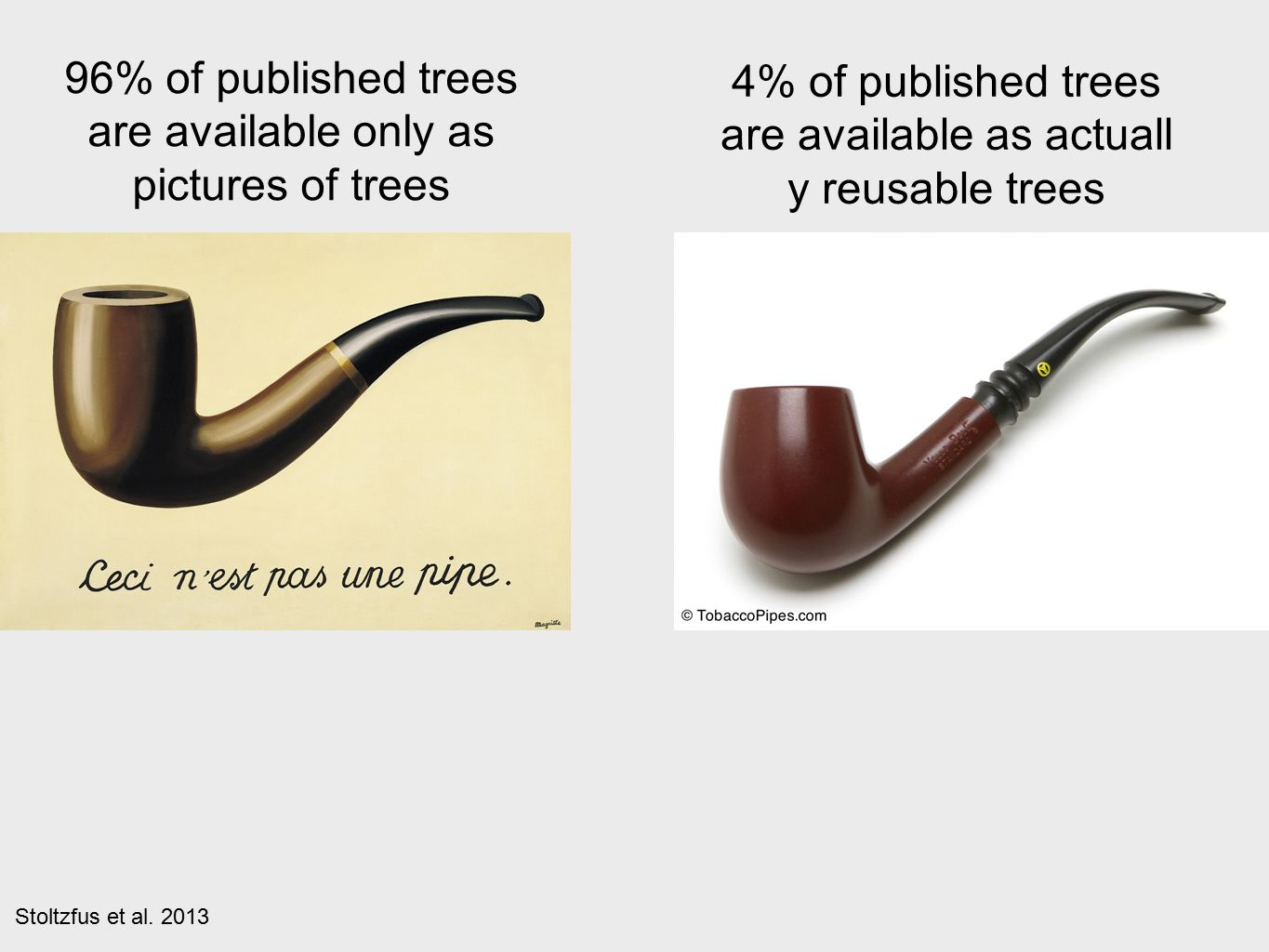 96% of published trees are available only as pictures of trees 4% of published trees are available as actuall y reusable trees Stoltzfus et al.